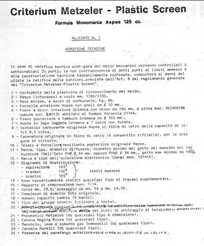 Il Regolamento Aspes Criterium-Plastic Screen.